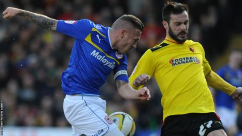 Craig Bellamy takes a shot at Watford for Cardiff in the Championship