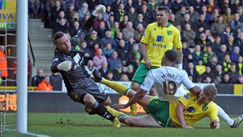 Luke Moore scores for Swansea at Norwich