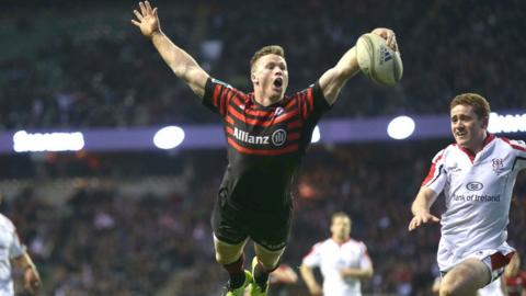 Chris Ashton is already celebrating before he goes over to score the second try for Saracens