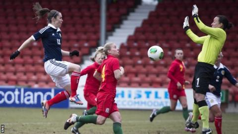 Jane Ross scores for Scotland against Wales