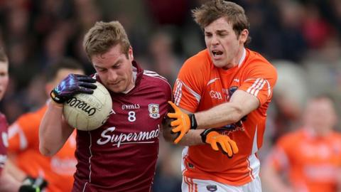 Gary O'Donnell of Galway in action against Armagh's Kevin Dyas