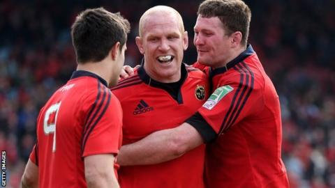 Conor Murray and Donncha Ryan celebrate with Paul O'Connell after Munster's win