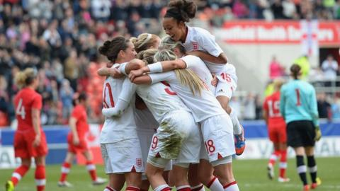 England women celebrate the winner versus Canada