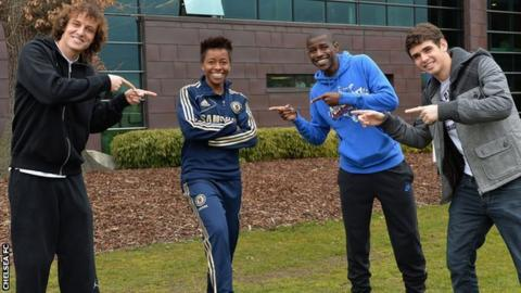 Chelsea's Brazilian contingent David Luiz, Ester, Ramires and Oscar
