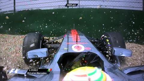 Sergio Perez crashes in his McLaren