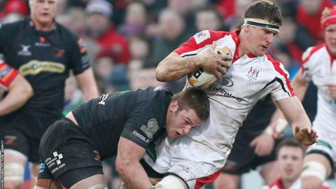 Dan Lydiate tackles Ulster's Robbie Diack during the Dragons' 31-5 defeat at Ravenhill.