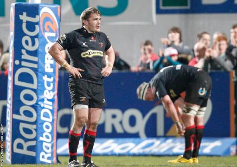 Dragons players are dejected following defeat against Ulster.