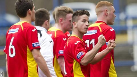 Dunfermline's Josh Falkingham celebrates