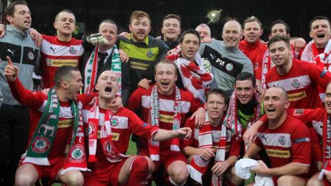 The Cliftonville players celebrate at Solitude