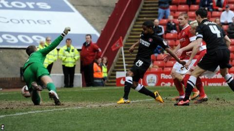 Bradley Pritchard scores Charlton's first against Barnsley