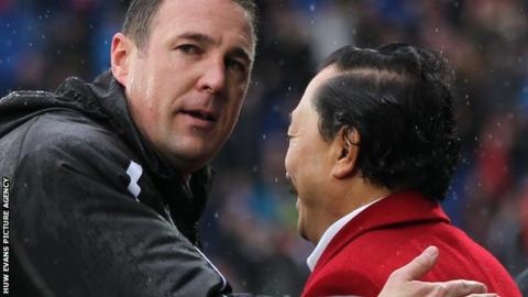 Malky Mackay with Cardiff City owner Vincent Tan