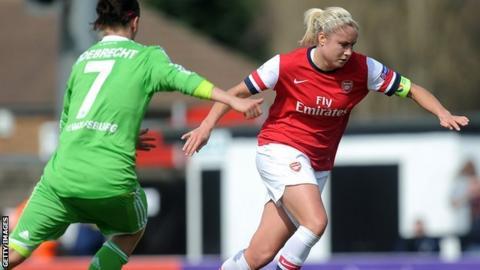 Arsenal defender Steph Houghton in action against Wolfsburg