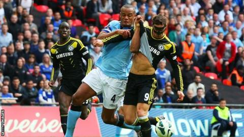 Vincent Kompany tangles with Fernando Torres