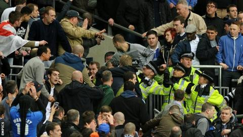 Millwall fans and police at Wembley Stadium