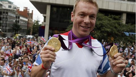 Chris Hoy with his gold medals at the London 2012 Games