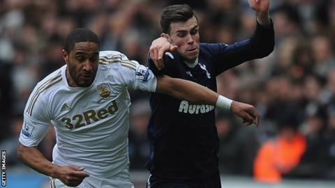 Ashley Williams battles with Tottenham's Gareth Bale
