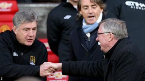Brian Kidd, Roberto Mancini and Sir Alex Ferguson