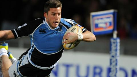 Glasgow wing DTH van der Merwe dives over the line for a dramatic last minute try against Ospreys