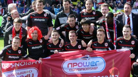 Cardiff City celebrate winning their first Championship title