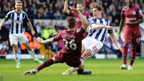 West Brom's Billy Jones scores an equaliser against Newcastle
