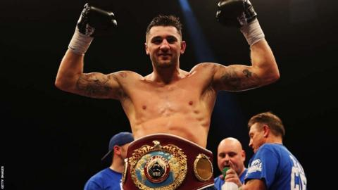 Nathan Cleverly celebrates his unanimous points victory over Robin Krasniqi to retain his WBO light-heavyweight belt