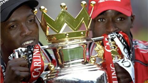 Former Manchester United strikers Dwight Yorke and Andrew Cole