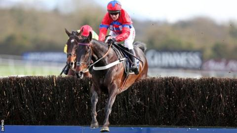 Sprinter Sacre jumps the last at Punchestown on his way to victory