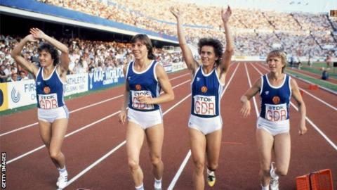 East Germans Silke Gladisch, Marita Koch, Marlies Goehr and Ingrid Auerswald (from left) wave to the crowd after winning the women's 4x100m relay at the World Athletics Championships in Helsinki
