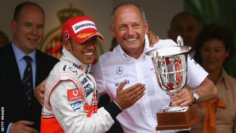 Ron Dennis and Lewis Hamiton of McLaren