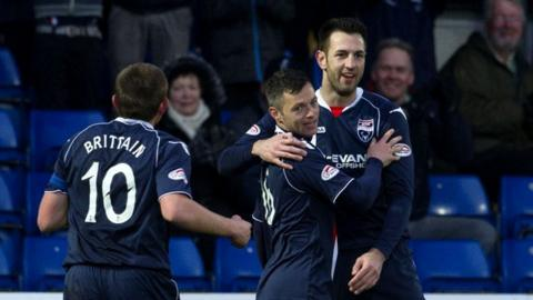 Ivan Sproule (centre) is congratulated by his team-mates on his goal