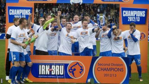 Queen of the South receive the Division Two trophy