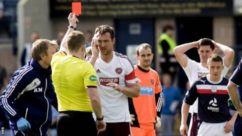 John Beaton shows Andy Webster a red card at Dens Park