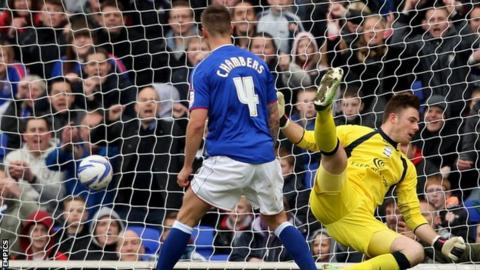 Ipswich Town's Luke Chambers (right) scores his sides second goal past Birmingham City goalkeeper Jack Butland