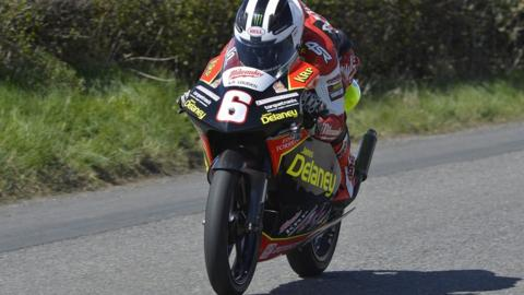 William Dunlop retired on his Delaney Honda while leading the 125cc race
