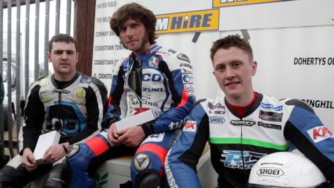 Supersport 600 winner Guy Martin (centre) is flanked by runner-up Michael Dunlop and third-placed Dean Harrison