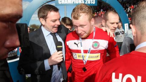 BBC Sport NI's Thomas Kane talks to Cliftonville's top scorer Liam Boyce after the Reds beat Ballinamallard 2-1