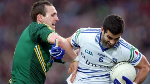 Graham Reilly of Meath and Monaghan's Neil McAdam in action in Saturday night's Division 3 final