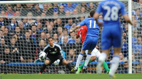 Oscar shoots past Swansea goalkeeper Michel Vorm to open the scoring for Chelsea