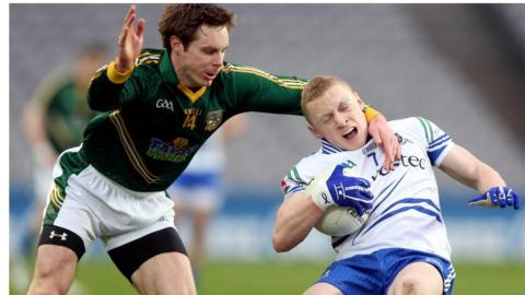 Stephen Bray attempts to halt the progress of Colm Walshe as Monaghan beat Meath in the Division 3 decider