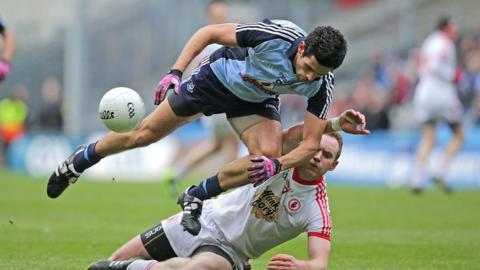 Cian O'Sullivan and Aidan Cassidy in action during Dublin's one-point Division 1 final win over Tyrone