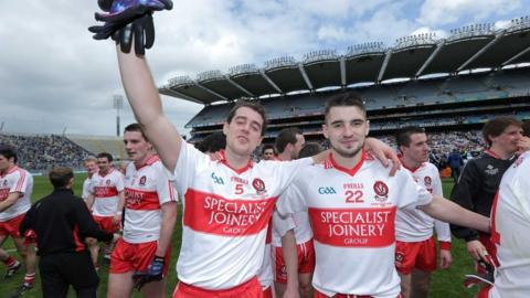 Charlie Kielt and Lee Kennedy show their delight after Derry's victory over Westmeath at Croke Park