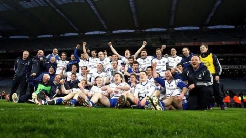 Monaghan celebrate after their Football League Division 3 success over Meath