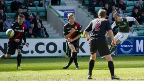 Leigh Griffiths opens the scoring for Hibs