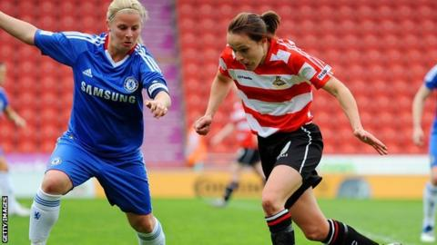 Aine O'Gorman (right) of Doncaster looks for a way past Kylie Davies