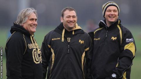 Scott Johnson, Jonathan Humphreys and Sean Holley during their Ospreys days