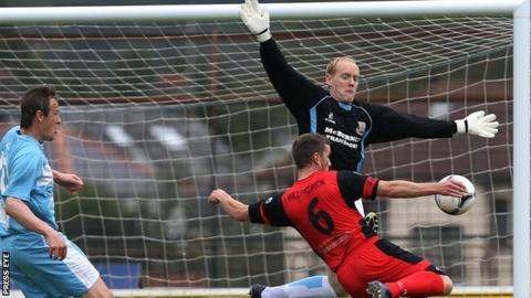 Ballymena goalkeeper Dwayne Nelson