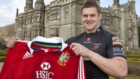 Newport Gwent Dragons and Wales flanker Dan Lydiate pictured with a Lions shirt.