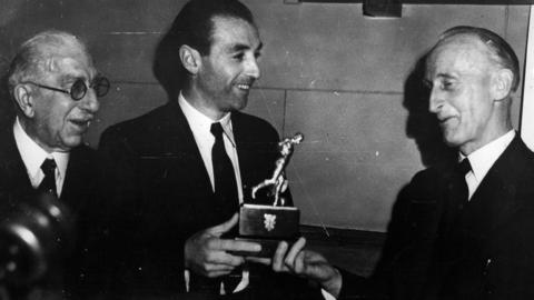 Stanley Matthews wins the inaugural Footballer of the Year award