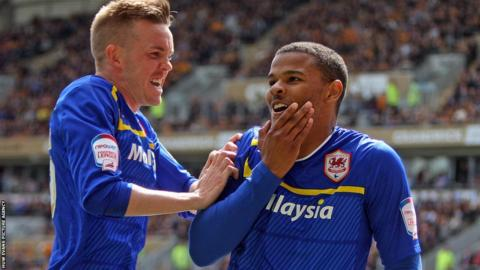 Cardiff City striker Fraizer Campbell opens the scoring against Hull City, one of his former clubs, with a crisp low finish