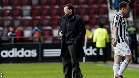 St Mirren manager Danny Lennon at Tynecastle